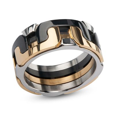 Men S Interlocking Wedding Band In Tri Tone Stainless Steel Save On Select Styles