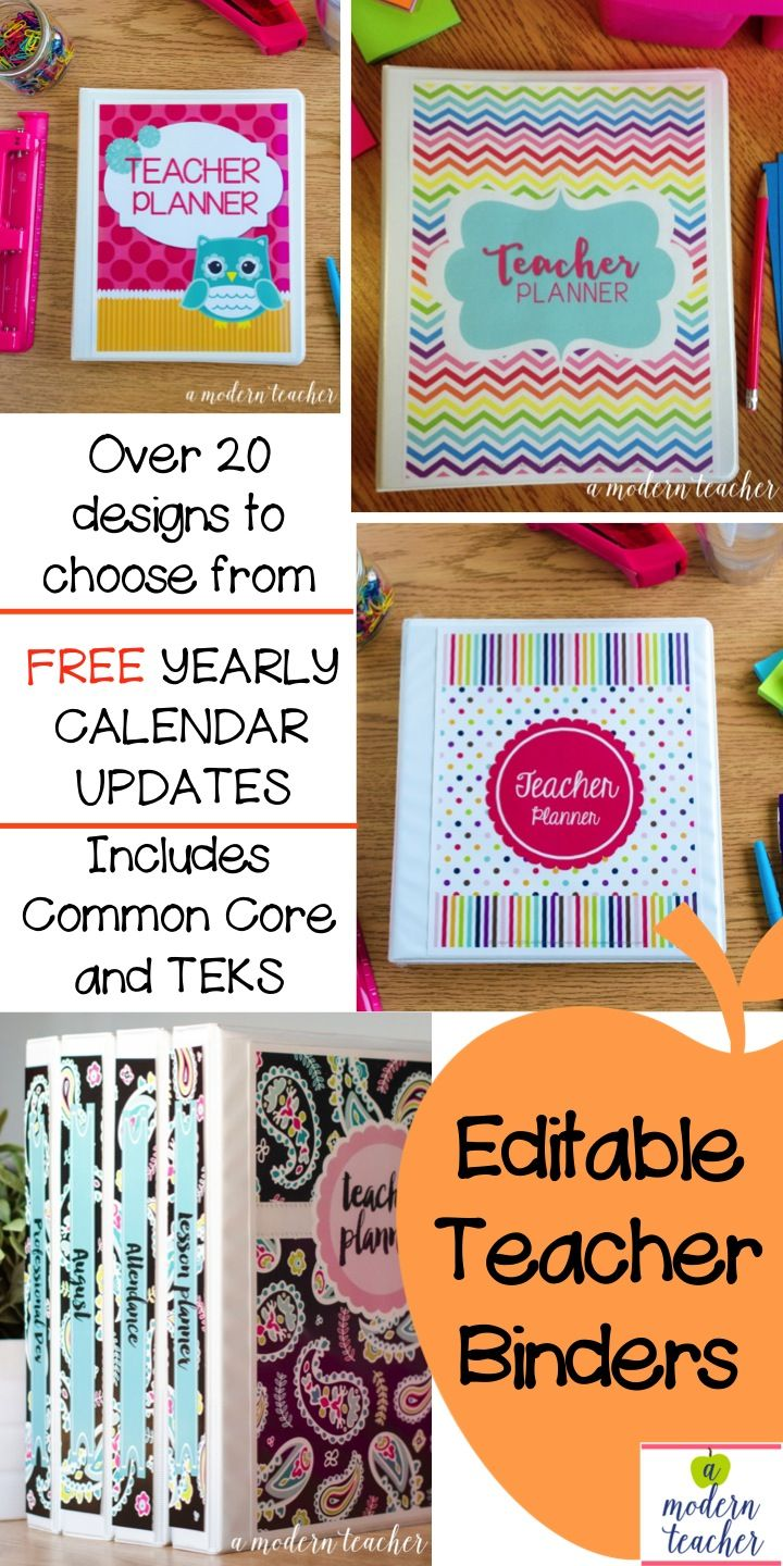 Editable Teacher Binders, Get organized this year; Take the guesswork out; tons of organizational forms, lots of designs to choose from, $; teacher planner; easily add text to lesson plan templates, made my life SO much easier