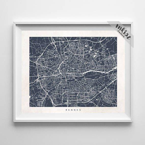 Rennes Map, France Print, Rennes Poster, French Art,  Artwork Sale, Giclee, Dorm Decor, Home Decor, Playroom Wall Art, Christmas Gift, Wall Art. PRICES FROM $9.95. CLICK PHOTO FOR DETAILS.#inkistprints #map #streetmap #giftforher #homedecor #nursery #wallart #walldecor #poster #print #christmas #christmasgift #weddinggift #nurserydecor #mothersdaygift #fathersdaygift #babygift #valentinesdaygift #dorm #decor #livingroom #bedroom