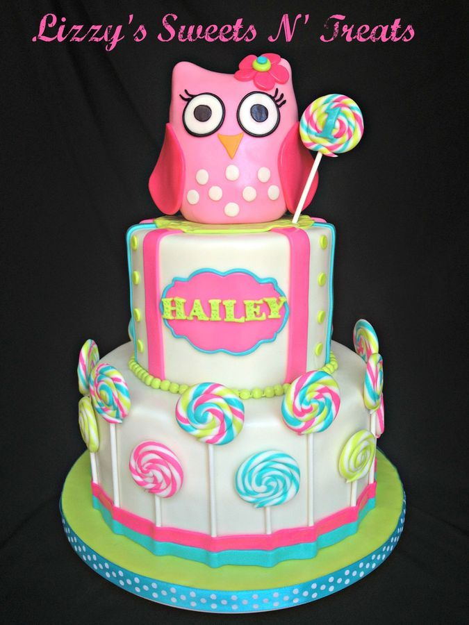 Baby's First birthday Pink baby owl cake