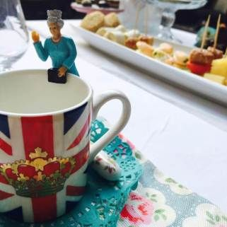 Drink buddies for a Royal afternoon tea for children. Union Jack miniature espresso mugs. Chalkboard welcome message