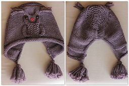 New owl hat design. Flat knitting with seam.