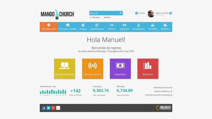 Web design inpsiration: bright bold colors / search bar / login with picture / good interface for a site's backend or software as a service interfaces | Mango Church by MangoTech on deviantART