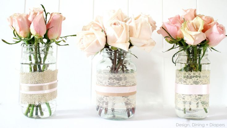 Transform empty food jars into shabby chic vases with lace and ribbon. Mix and match jar heights and sizes to create an elegant home for your spring blooms. Get the tutorial from Design, Dining and Diapers »