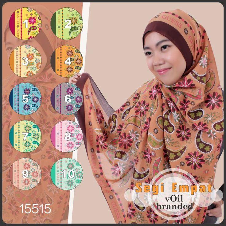 Model Jilbab Segi Empat Motif Branded Voil 15515
