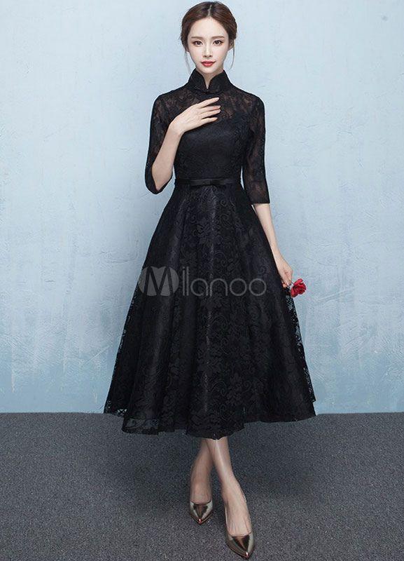 Robe dentelle Prom Robe col Mandarin Half Sleeve Sash A ligne thé longueur Graduation robe mère noire-No.5