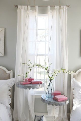 These galvanized metal trays—which serve the function of more traditional nightstands—are sure to teach the Gaines' daughters how to repurpose flea-market finds at a young age.