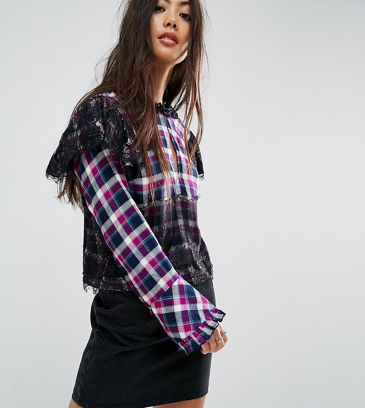 ASOS PETITE Check Smock Top with Lace Detail - Multi