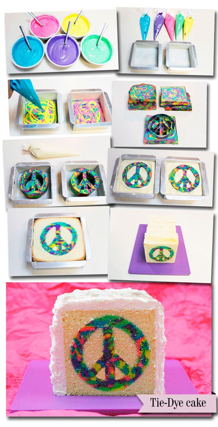 Como fazer bolo colorido | Símbolo da paz  www.docetrama.com.br