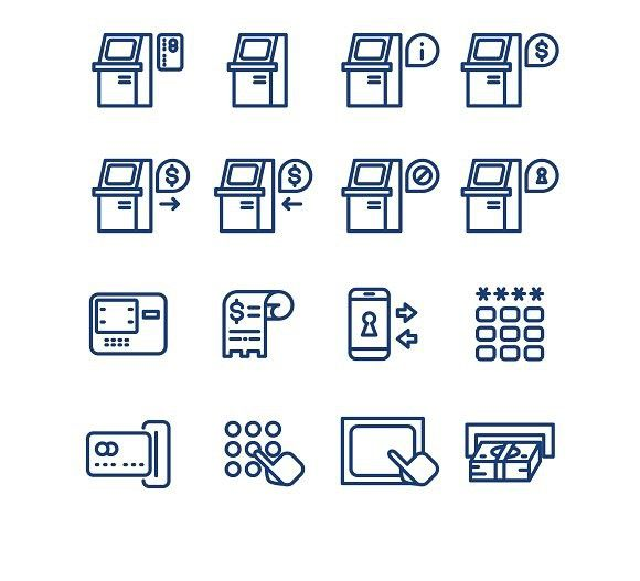 Atm terminal thin line icons. Technology icons. $5.00