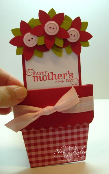 handmade flower pot card ... open ... so sweet with button centers on the flowers ... Stampin' Up!