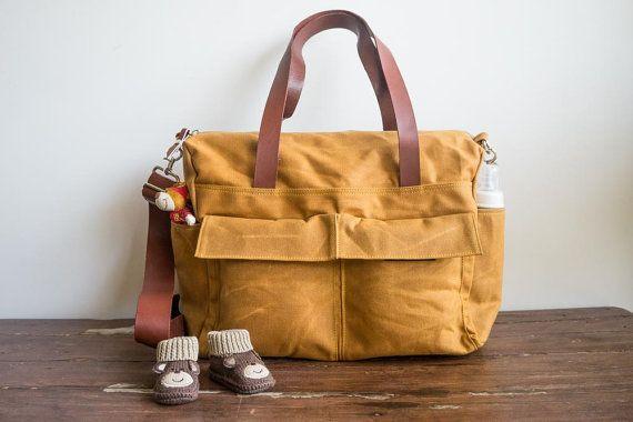 Waxed canvas bag 9 pocket diaper bag by MOOIStudio
