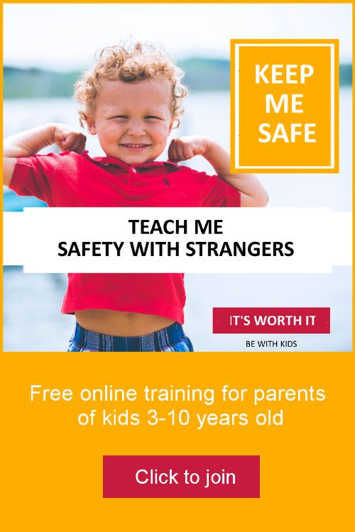 Teach your child safety with strangers and other people in a positive way - free online course for parents of kids 3-10 years old #bewithkids
