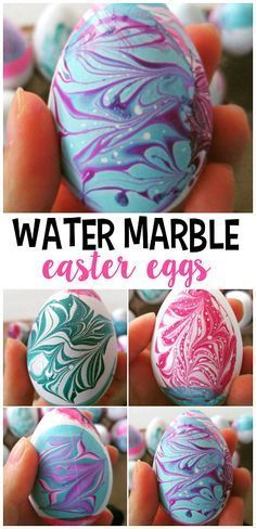 Dye Easter Eggs with RICE {Super Fun and Easy!} Water marble easter egg decorating using nail polish! Such a fun craft for older kids!