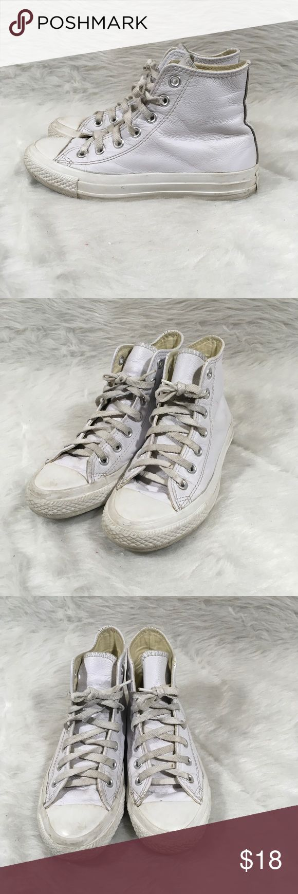 Converse White Leather Chuck Taylor Hi-Tops Converse 1T406 White Leather Chuck Taylor Hi-Tops Mens Sz 4 Women's 6  Size- Men's 4 Women's 6  Condition-Has some signs of wear, see pictures. Converse Shoes Sneakers