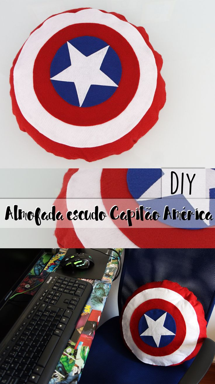 DIY   como fazer almofada sem costura do capitão América (escudo)