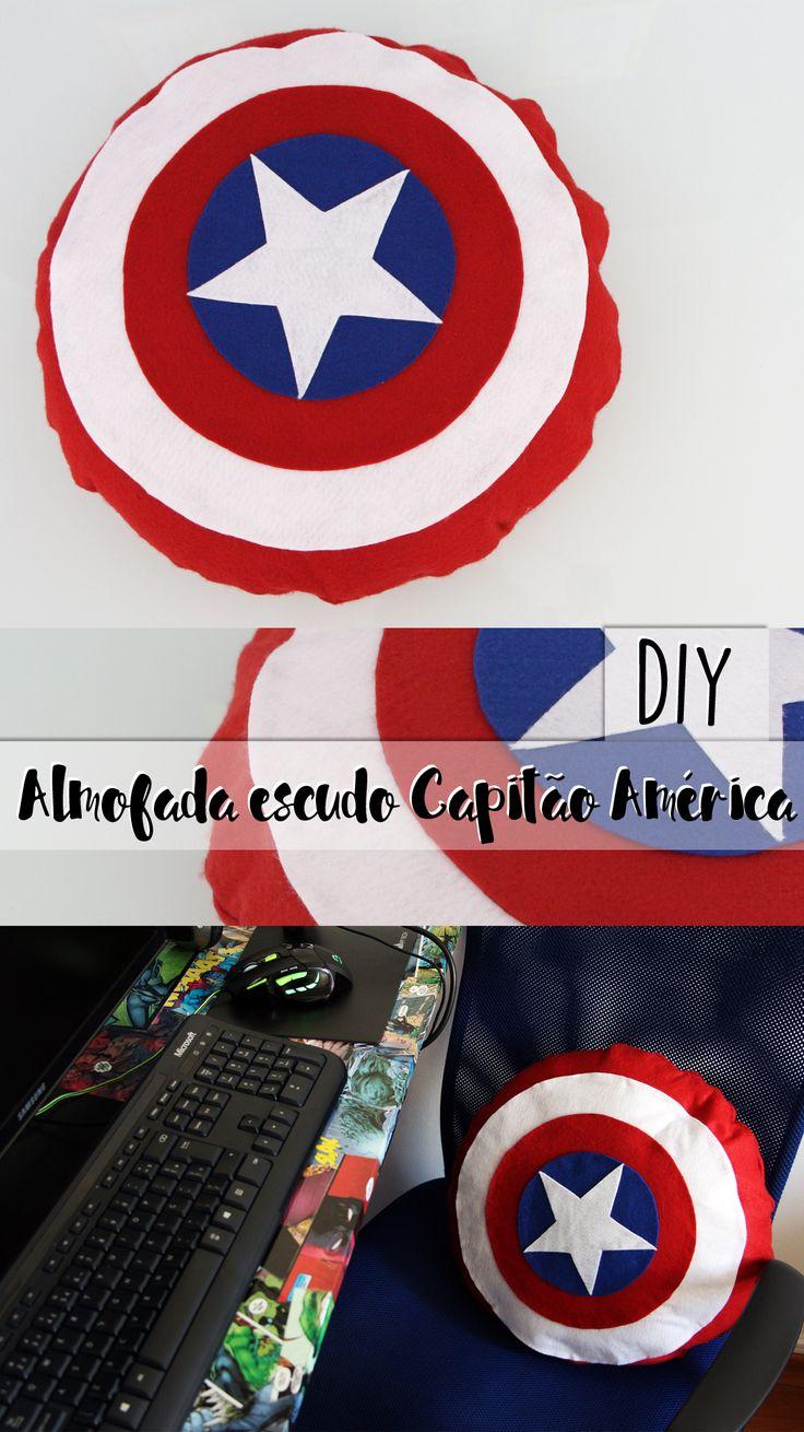 DIY | como fazer almofada sem costura do capitão América (escudo)