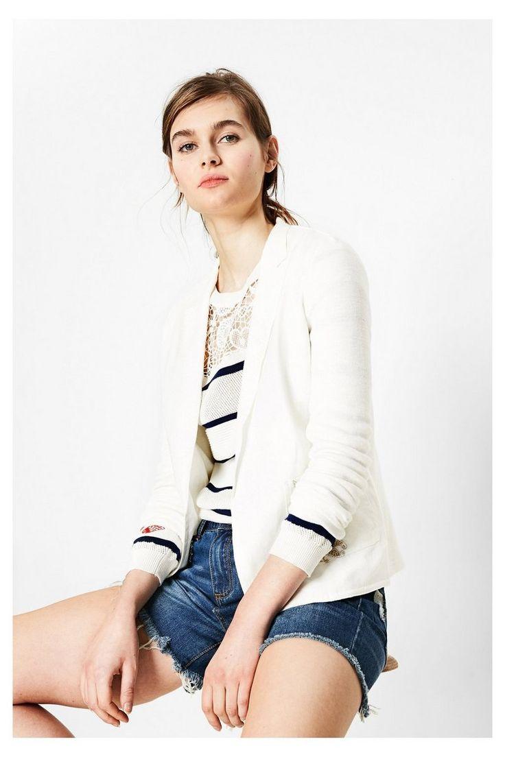 Desigual Damen Weißes Sakko für Damen #Frauenmode #Fashion #Bekleidung #Mode #Damen #Jacken #Blazer