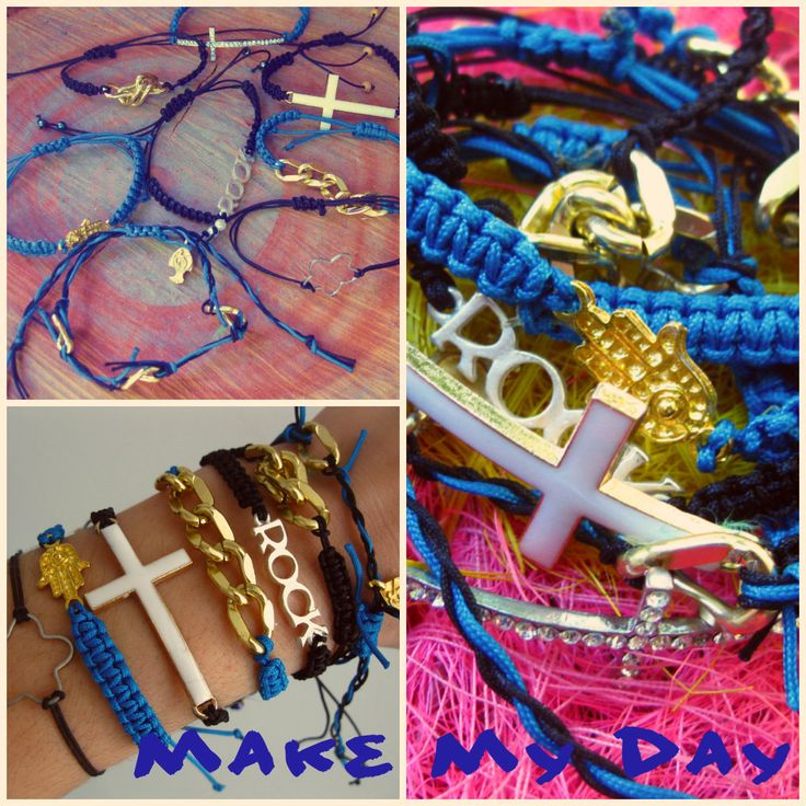 Handmade bracelets, square knots and pendants