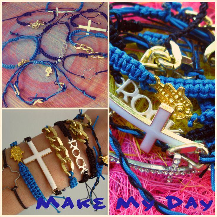 Handmade bracelets, square knots and pendants