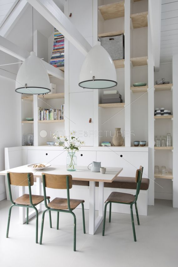 white loft dining space