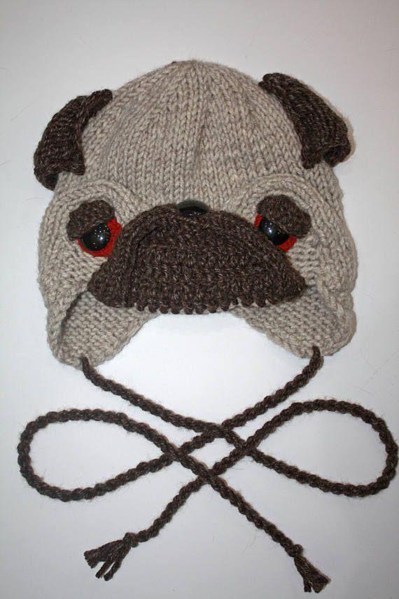 Pug Dog Hat Winter Hat Hat with earflaps Puppy Dog Pug Adult Child Fun Hat b20d418f2f6
