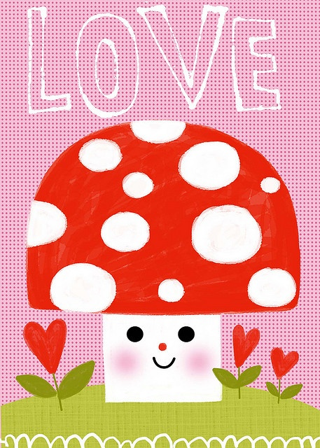 Kelly C. artwork...from her blog and Flickr. Enjoy: Polka Dots, Art Inspiration, So Cute, Girls Bedrooms, Frames, Doodles, Lucky Mushrooms, Photo, Artworks From