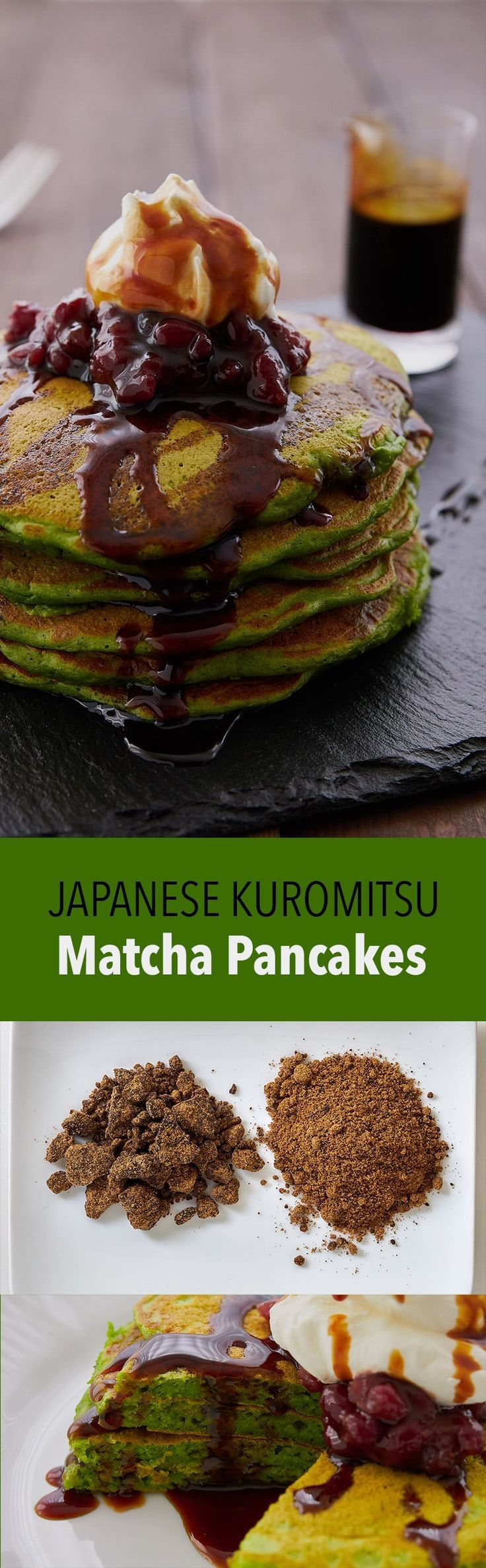 These Matcha pancakes drizzled with Japanese black syrup are not only a gorgeous shade of green, they taste amazing!