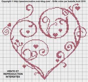 Grille gratuite point de croix : Coeur arabesque (coussin alliance)