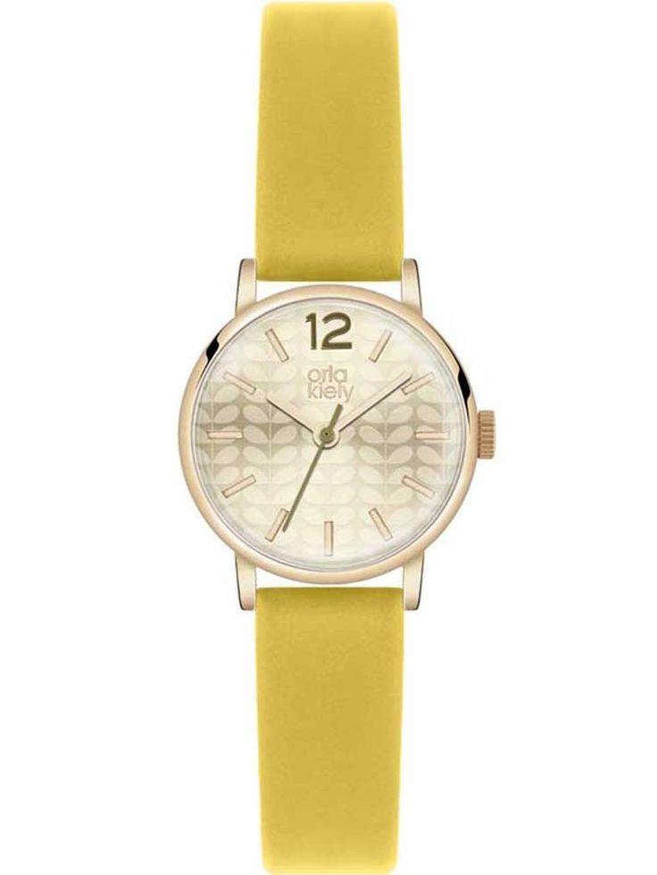 Orla Kiely Frankie Gold Plated Yellow Strap Watch OK2020