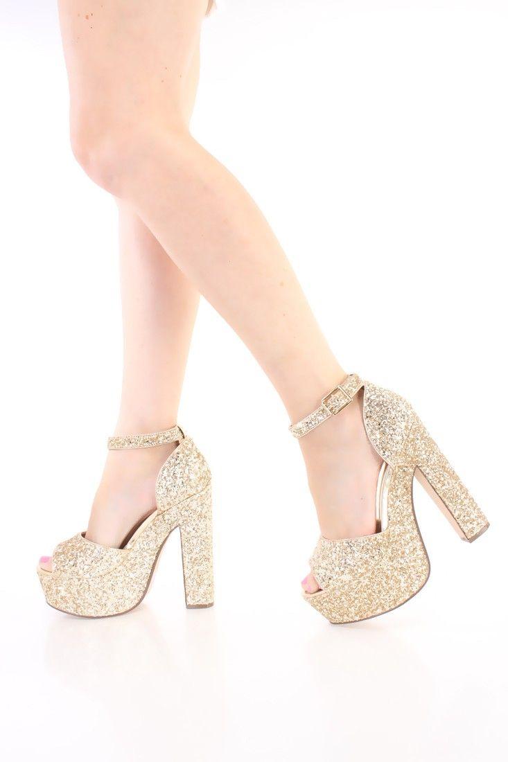 Gold Chunky Platform 6 Inch High Heels Glitter