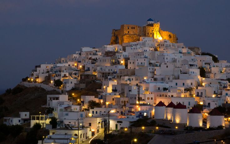 Stone castle of astypalaia Island towers over hora, Greece