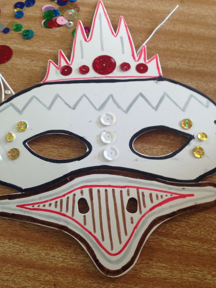 Australian animal face masks decorated with textas and sequins.