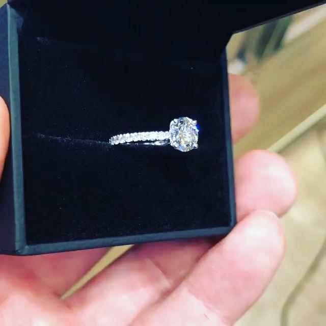 1.50CT Round Moissanite Engagement Ring Micro Pave Diamond Setting – Kathy