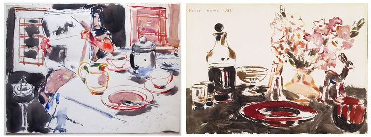 Left: David Milne (1882-1953), Morning Paper, 1939, watercolour on paper  36.8 × 49.5 cm, Promised Gift of Katia and John Bianchini to the  McMichael Canadian Art Collection, P2015.1  Right: David Milne (1882 - 1953), Red Plate, 1939, watercolour over graphite on paper, 35.4 x 48.8 cm, Gift of Mr. R.A. Laidlaw, 1969.5.2  #DavidMilne #CanadianArt #watercolour #watercolor