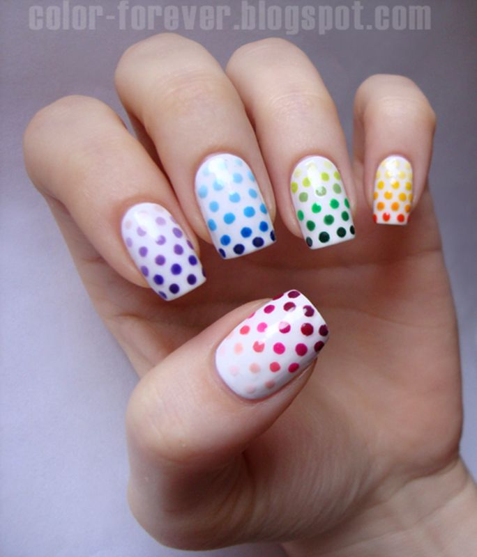 Nailpolis Museum of Nail Art | Skittles, gradient and dots by ania