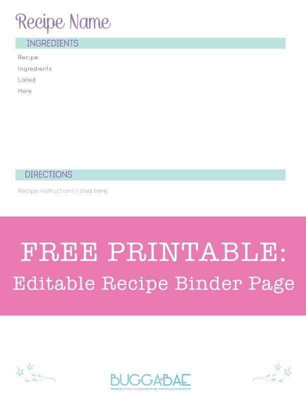 editable recipe page template