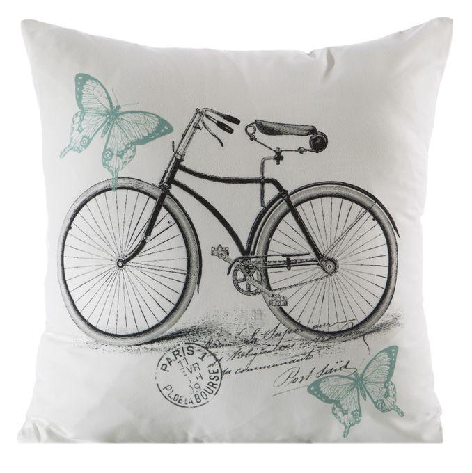 Biele dekoračné obliečky na vankúšik s retro bicyklom