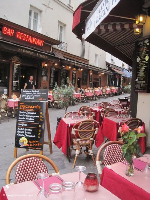 The lively Rue Mouffetard, on of the oldest streets in Paris is lined with countless restaurants and cafés