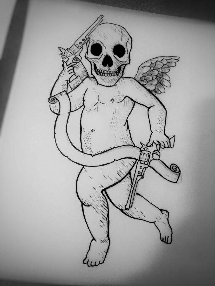#Desenhos #DanAtila #pensamentos #sketch #GamaDf #blackwork #querubim #worklover #skull #tatooartist #tatuagem #construção #dotwork #guns