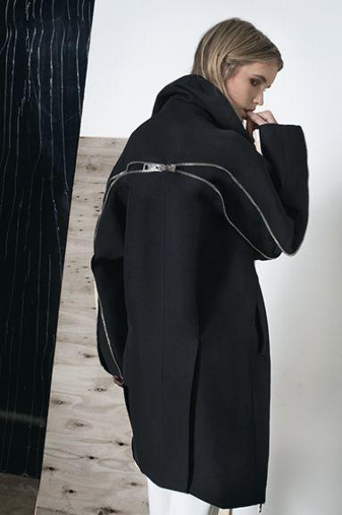 Contemporary Fashion Design - black coat with zipper back detail // Zaid Affas FW14