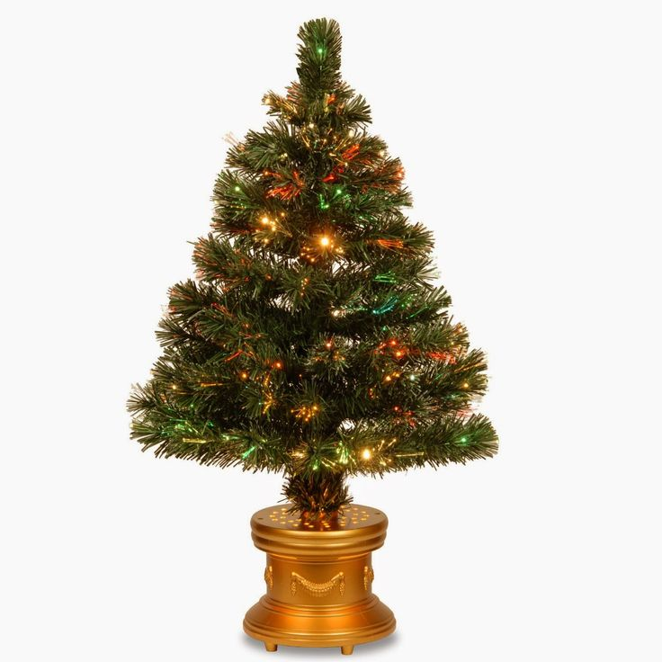 National Tree Fiber Optic Radiance Firework Tree with Gold Base