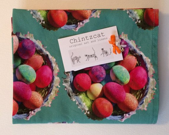 Cotton-linen mix tea towel with colourful Easter egg by chintzcat