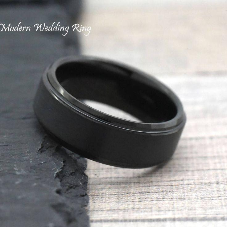 8mm Promise Ring, Black Tungsten Mens Promise Ring, Unique Promise Ring for Him, Mens Tungsten Wedding Bands, Male Tungsten Wedding Band by ModernWeddingRing on Etsy https://www.etsy.com/listing/520557196/8mm-promise-ring-black-tungsten-mens