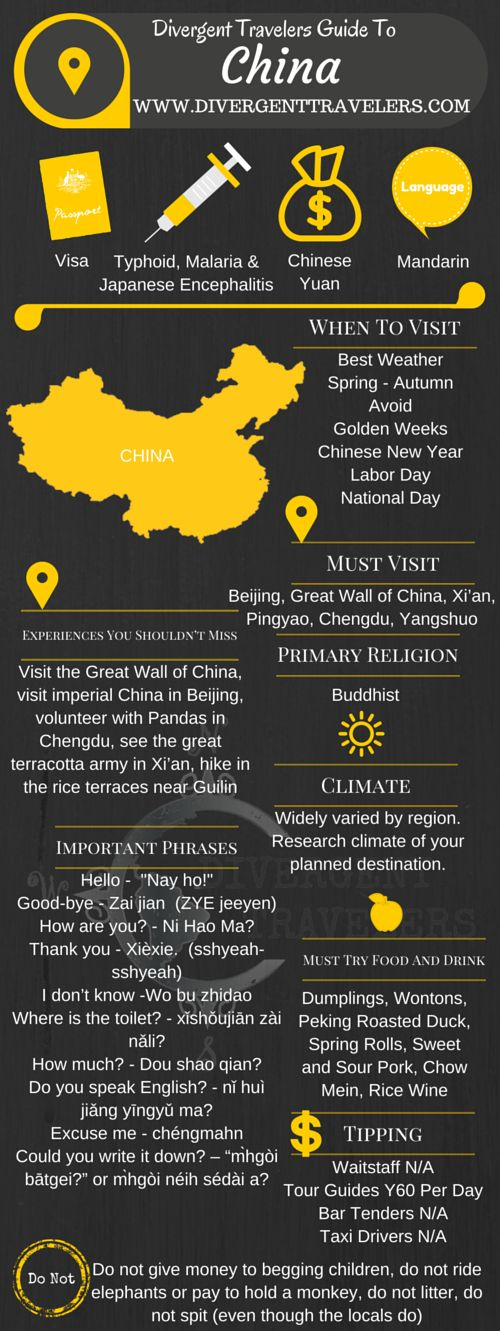 Divergent Travelers Travel Guide, With Tips And Hints To China. This is your ultimate travel cheat sheet to China. Click to see our full China Travel Guide from the Divergent Travelers Adventure Travel Blog and also read about all of the different adventures you can have in China at http://www.divergenttravelers.com/destinations/china/