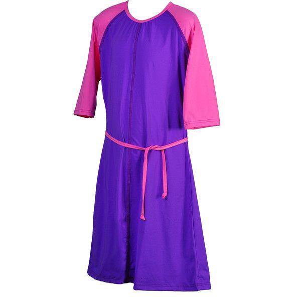 MarSea Modest Swim & Casualwear Girl's / Teens UV Modest SwimDress ($70) ❤ liked on Polyvore featuring swimwear, one-piece swimsuits, purple, purple one piece swimsuit, bikini swimsuit, bathing suits bikini and purple bathing suit