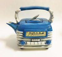 NEW BLUE SKY BLUE+GRAY+WHITE CERAMIC ANTIQUE RADIO TEAPOT,TEA,COFFEE POT