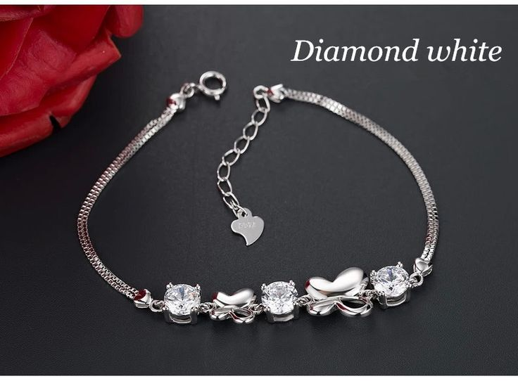 diamond white color silver bracelet for women