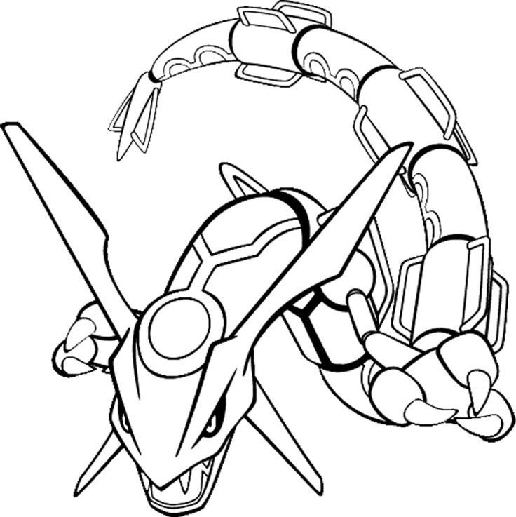pokemon coloring pages | Stampa disegno di Rayquaza da colorare