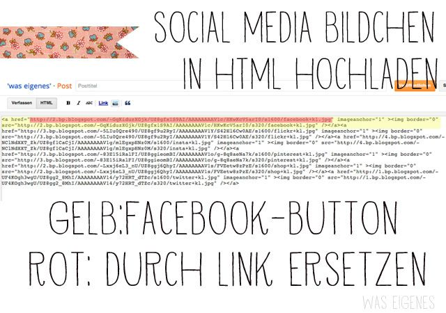 Detaillierte Schritt-für-Schritt-Anleitung wie man social media buttons in einen blogspot Blog einbaut. {Anleitung zum Selbermachen - was eigenes}